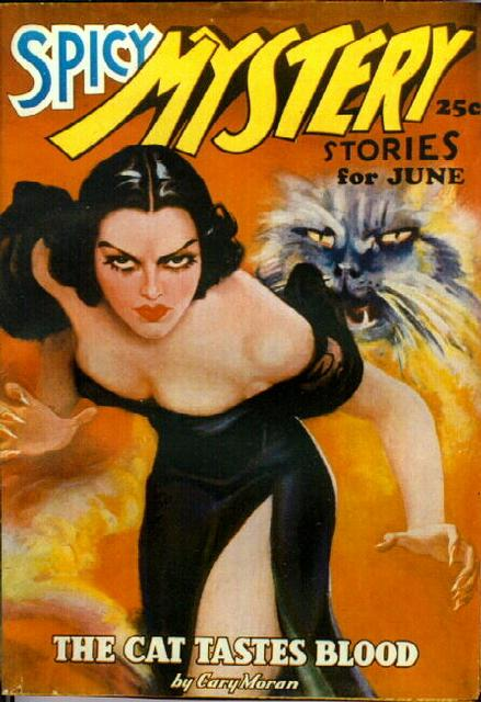 Spicy Mystery Stories, June 1936 - angry cat and angry woman pulp cover - The Cat Tastes Blood