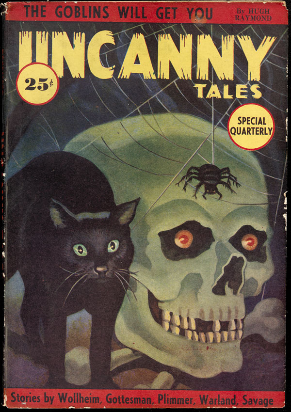 Uncanny Tales - Black cat & skull pulp cover