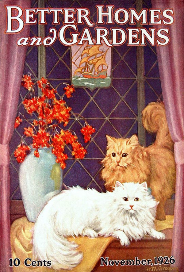 Better Homes and Gardens, November 1926 - cats with flowers pulp cover
