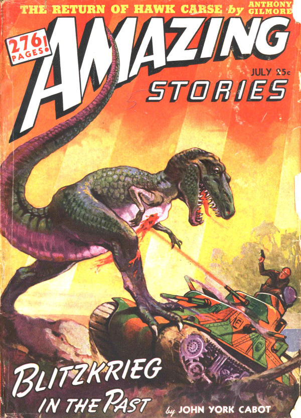 Amazing Stories - Blitzkrieg in the Past - Dinosaurs & Nazis Pulp Cover